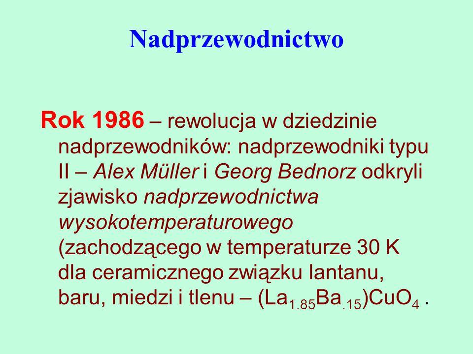 Rok 1986 – rewolucja w dziedzinie nadprzewodników: nadprzewodniki typu II – Alex Müller i Georg Bednorz odkryli zjawisko nadprzewodnictwa wysokotemper