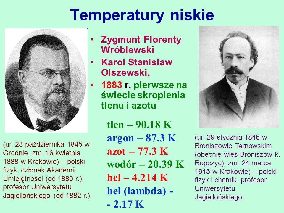 Temperatury niskie Zygmunt Florenty Wróblewski Karol Stanisław Olszewski, 1883 r. pierwsze na świecie skroplenia tlenu i azotu tlen – 90.18 K argon –