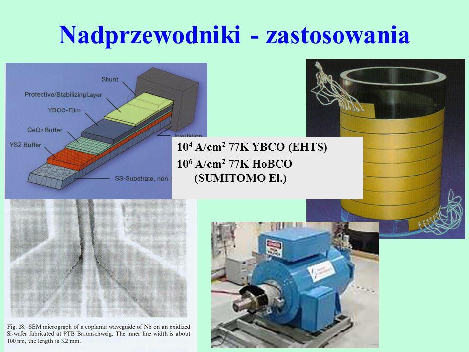 Nadprzewodniki - zastosowania 10 4 A/cm 2 77K YBCO (EHTS) 10 6 A/cm 2 77K HoBCO (SUMITOMO El.)