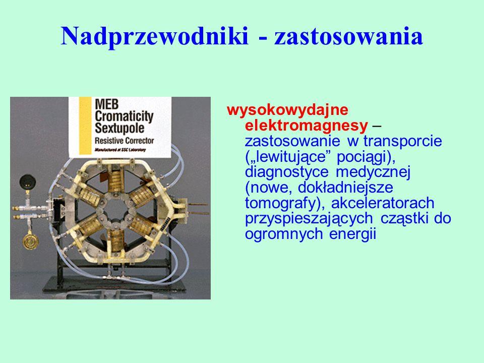 """wysokowydajne elektromagnesy – zastosowanie w transporcie (""""lewitujące"""" pociągi), diagnostyce medycznej (nowe, dokładniejsze tomografy), akceleratorac"""