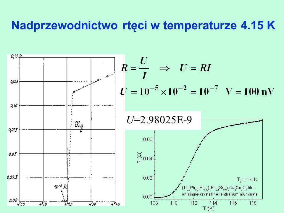Nadprzewodnictwo rtęci w temperaturze 4.15 K U=2.98025E-9