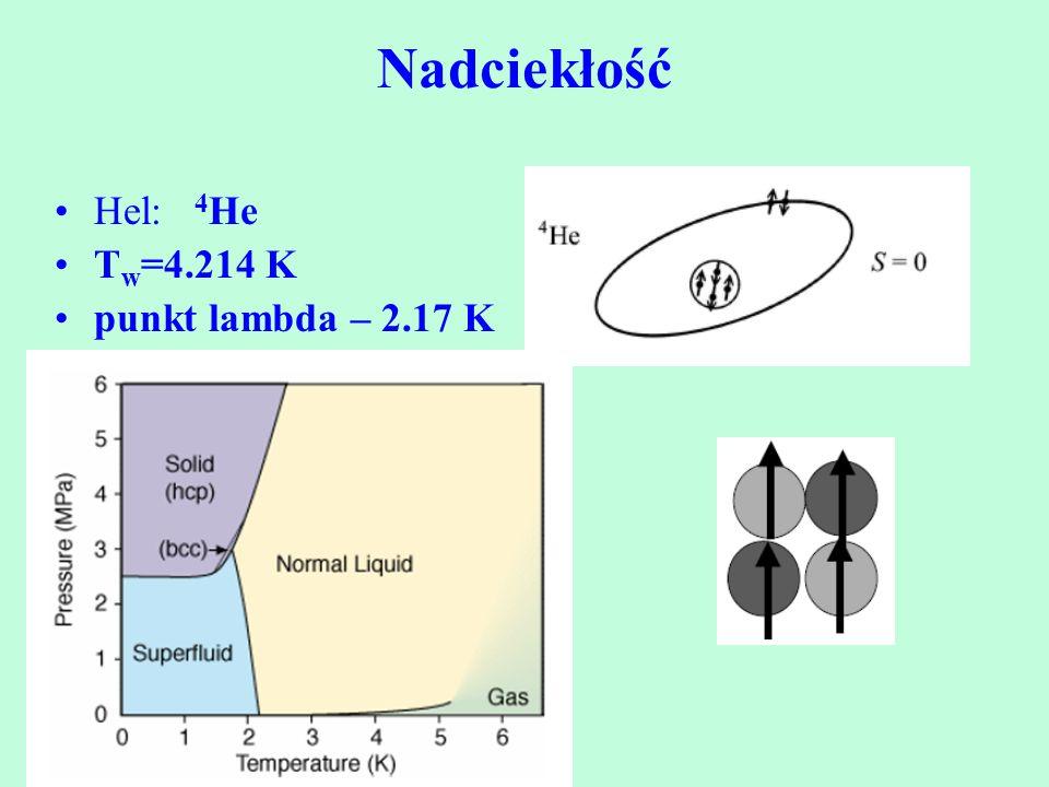 Hel: 4 He T w =4.214 K punkt lambda – 2.17 K Nadciekłość