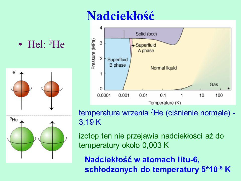 Nadciekłość Hel: 3 He Nadciekłość w atomach litu-6, schłodzonych do temperatury 5*10 -8 K temperatura wrzenia 3 He (ciśnienie normale) - 3,19 K izotop
