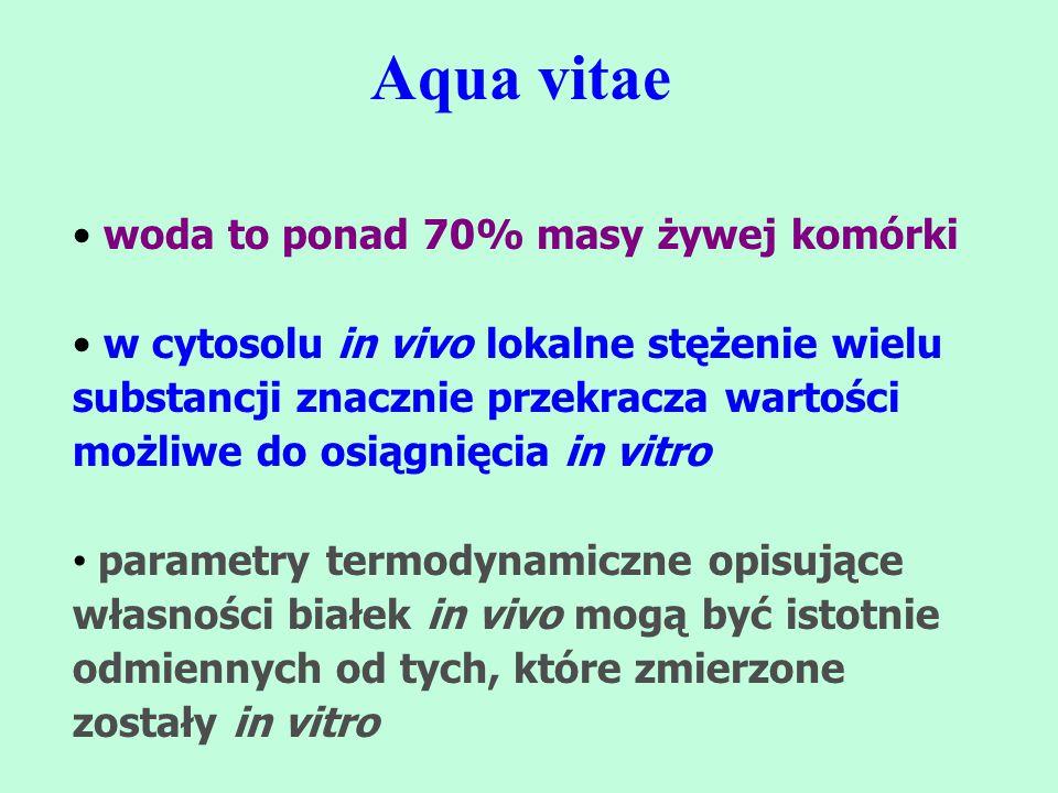 Aqua vitae woda to ponad 70% masy żywej komórki w cytosolu in vivo lokalne stężenie wielu substancji znacznie przekracza wartości możliwe do osiągnięc