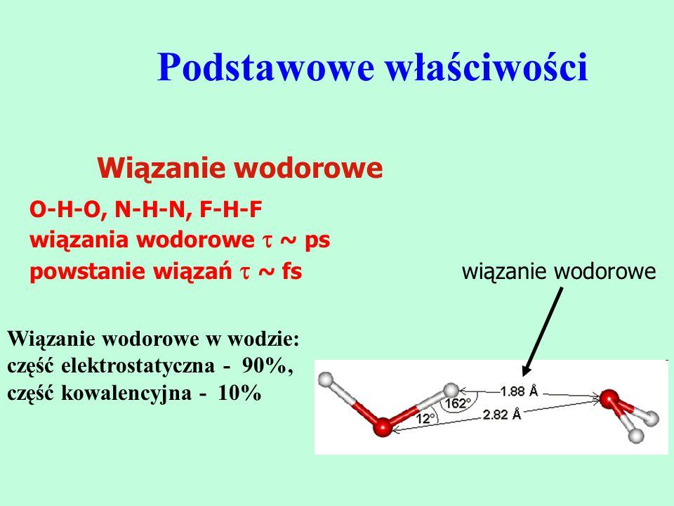 Podstawowe właściwości Wiązanie wodorowe O-H-O, N-H-N, F-H-F wiązania wodorowe  ~ ps powstanie wiązań  ~ fs wiązanie wodorowe Wiązanie wodorowe w wo