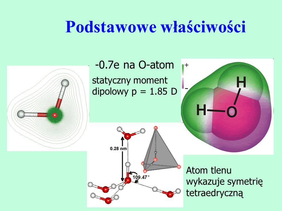 Podstawowe właściwości -0.7e na O-atom statyczny moment dipolowy p = 1.85 D Atom tlenu wykazuje symetrię tetraedryczną