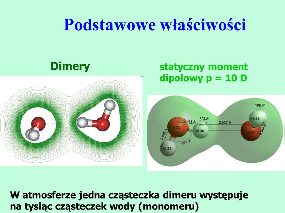 Podstawowe właściwości W atmosferze jedna cząsteczka dimeru występuje na tysiąc cząsteczek wody (monomeru) Dimery statyczny moment dipolowy p = 10 D