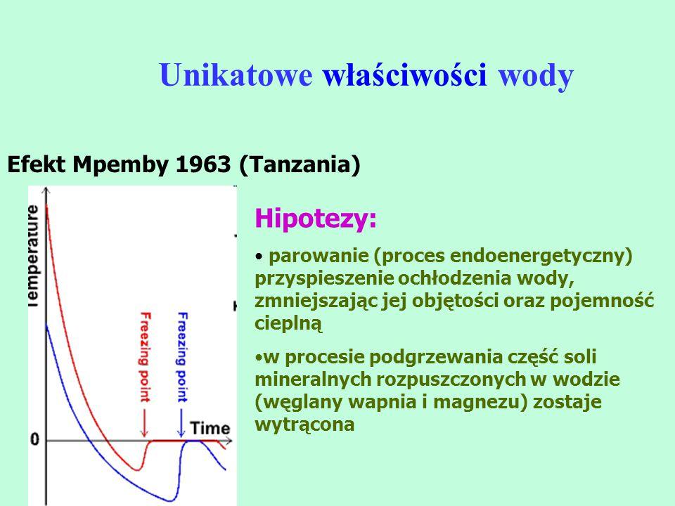 Unikatowe właściwości wody Efekt Mpemby 1963 (Tanzania) Hipotezy: parowanie (proces endoenergetyczny) przyspieszenie ochłodzenia wody, zmniejszając je