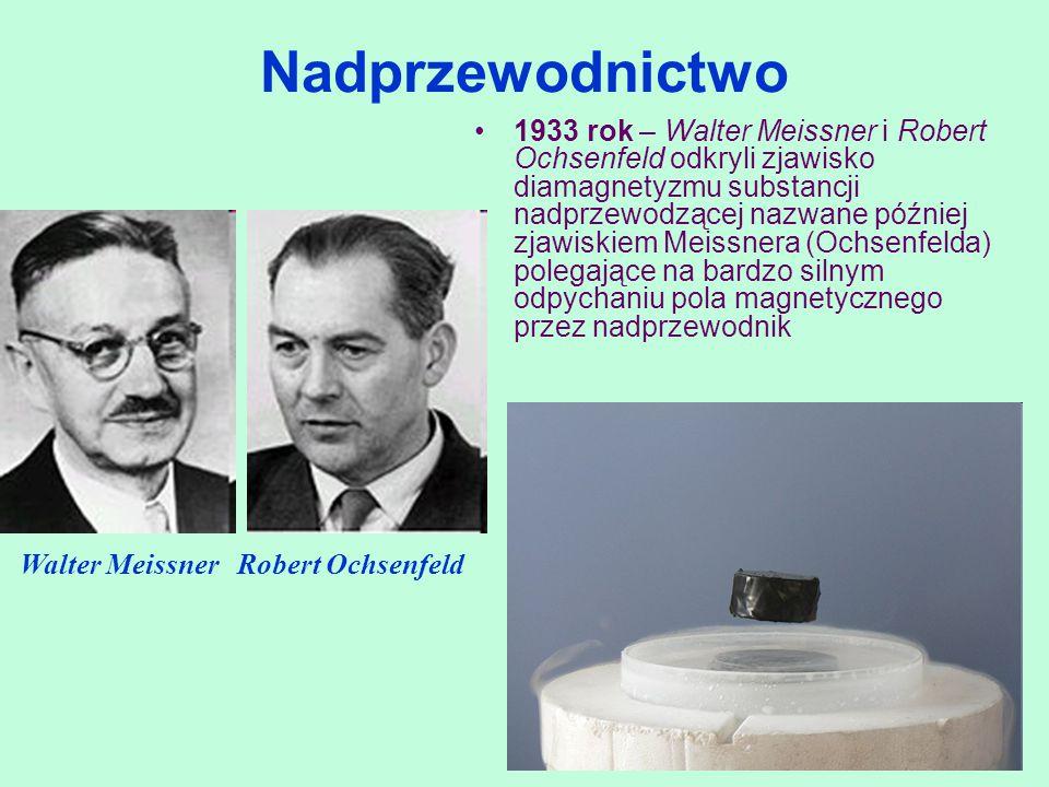 1933 rok – Walter Meissner i Robert Ochsenfeld odkryli zjawisko diamagnetyzmu substancji nadprzewodzącej nazwane później zjawiskiem Meissnera (Ochsenf
