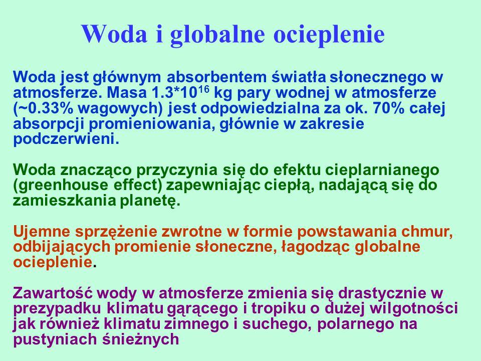 Woda i globalne ocieplenie Woda jest głównym absorbentem światła słonecznego w atmosferze. Masa 1.3*10 16 kg pary wodnej w atmosferze (~0.33% wagowych