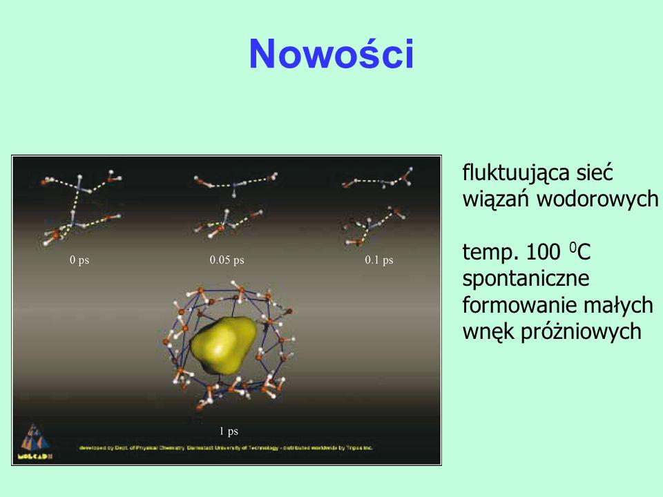 fluktuująca sieć wiązań wodorowych temp. 100 0 C spontaniczne formowanie małych wnęk próżniowych Nowości