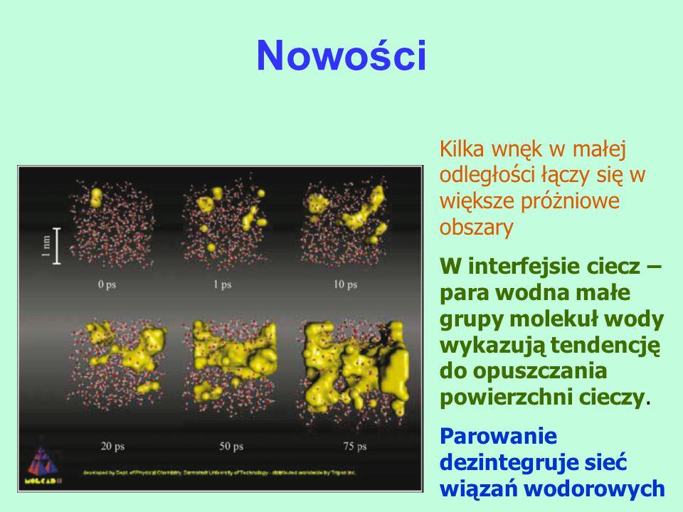 Kilka wnęk w małej odległości łączy się w większe próżniowe obszary W interfejsie ciecz – para wodna małe grupy molekuł wody wykazują tendencję do opu