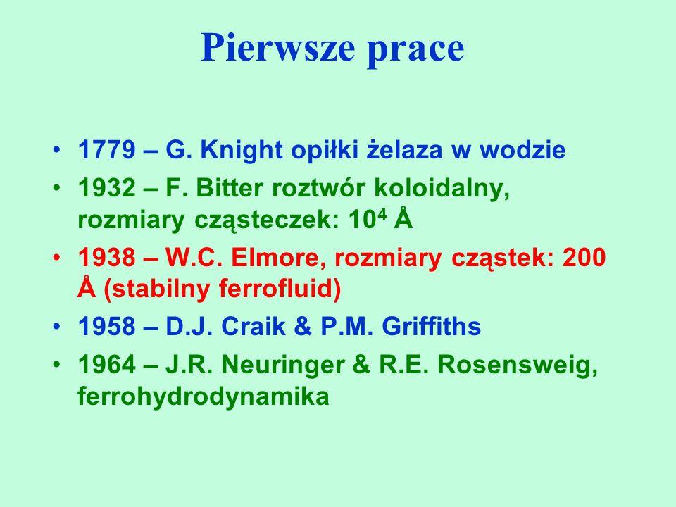 Pierwsze prace 1779 – G. Knight opiłki żelaza w wodzie 1932 – F. Bitter roztwór koloidalny, rozmiary cząsteczek: 10 4 Å 1938 – W.C. Elmore, rozmiary c
