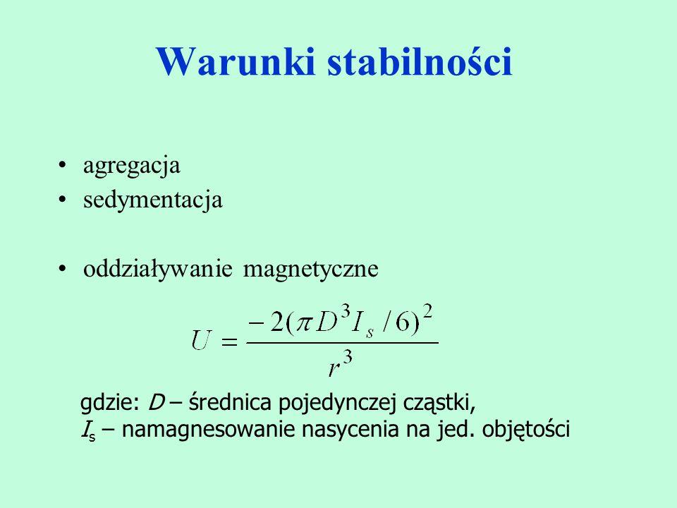 Warunki stabilności agregacja sedymentacja oddziaływanie magnetyczne gdzie: D – średnica pojedynczej cząstki, I s – namagnesowanie nasycenia na jed. o