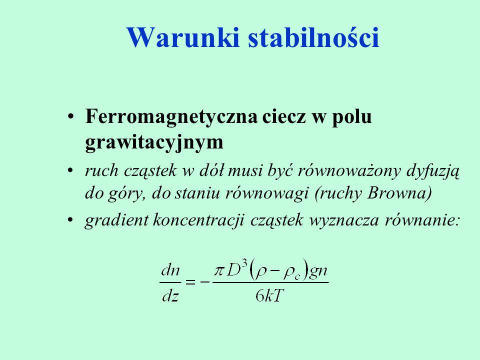 Warunki stabilności Ferromagnetyczna ciecz w polu grawitacyjnym ruch cząstek w dół musi być równoważony dyfuzją do góry, do staniu równowagi (ruchy Br