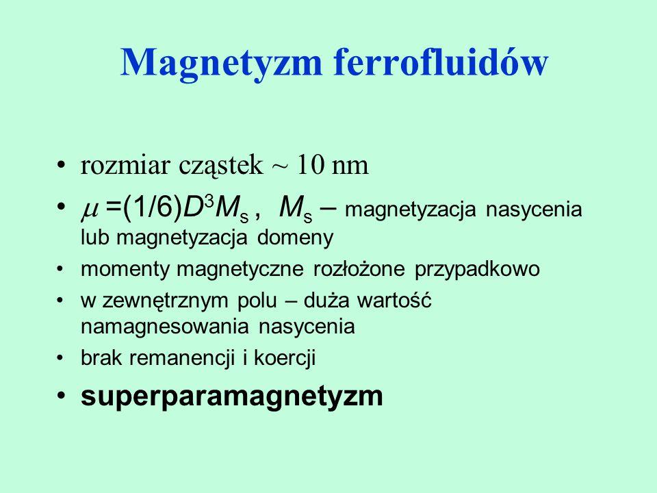 rozmiar cząstek ~ 10 nm  =(1/6)D 3 M s, M s – magnetyzacja nasycenia lub magnetyzacja domeny momenty magnetyczne rozłożone przypadkowo w zewnętrznym