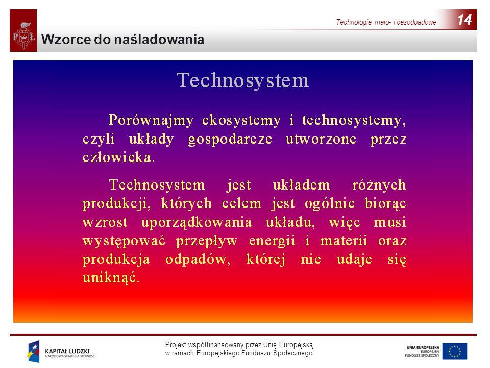 Projekt współfinansowany przez Unię Europejską w ramach Europejskiego Funduszu Społecznego 14 Wzorce do naśladowania Technologie mało- i bezodpadowe