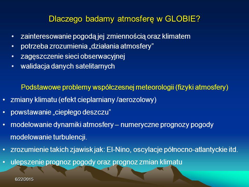 """Dlaczego badamy atmosferę w GLOBIE? zainteresowanie pogodą jej zmiennością oraz klimatem potrzeba zrozumienia """"działania atmosfery"""" zagęszczenie sieci"""