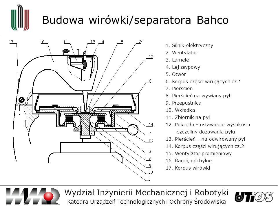 Budowa wirówki/separatora Bahco Wydział Inżynierii Mechanicznej i Robotyki Katedra Urządzeń Technologicznych i Ochrony Środowiska 1.