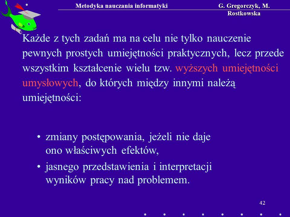 Metodyka nauczania informatykiG. Gregorczyk, M. Rostkowska 42 zmiany postępowania, jeżeli nie daje ono właściwych efektów, jasnego przedstawienia i in