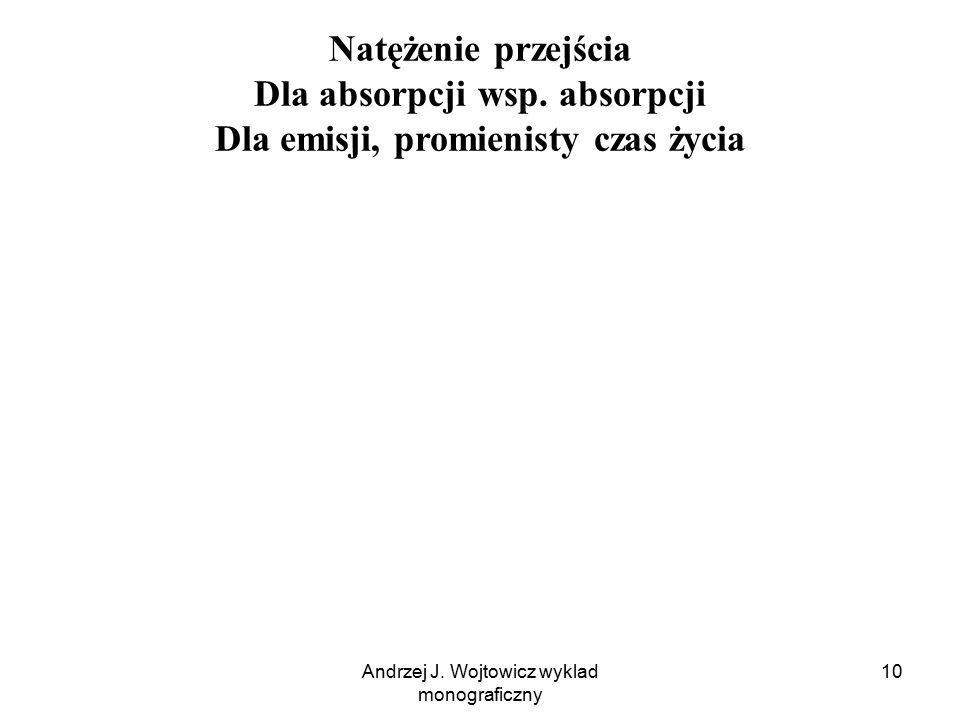 Andrzej J. Wojtowicz wyklad monograficzny 10 Natężenie przejścia Dla absorpcji wsp. absorpcji Dla emisji, promienisty czas życia