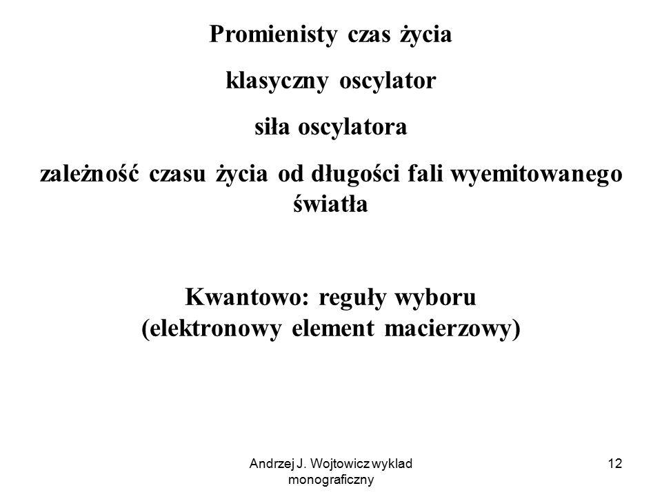 Andrzej J. Wojtowicz wyklad monograficzny 12 Promienisty czas życia klasyczny oscylator siła oscylatora zależność czasu życia od długości fali wyemito