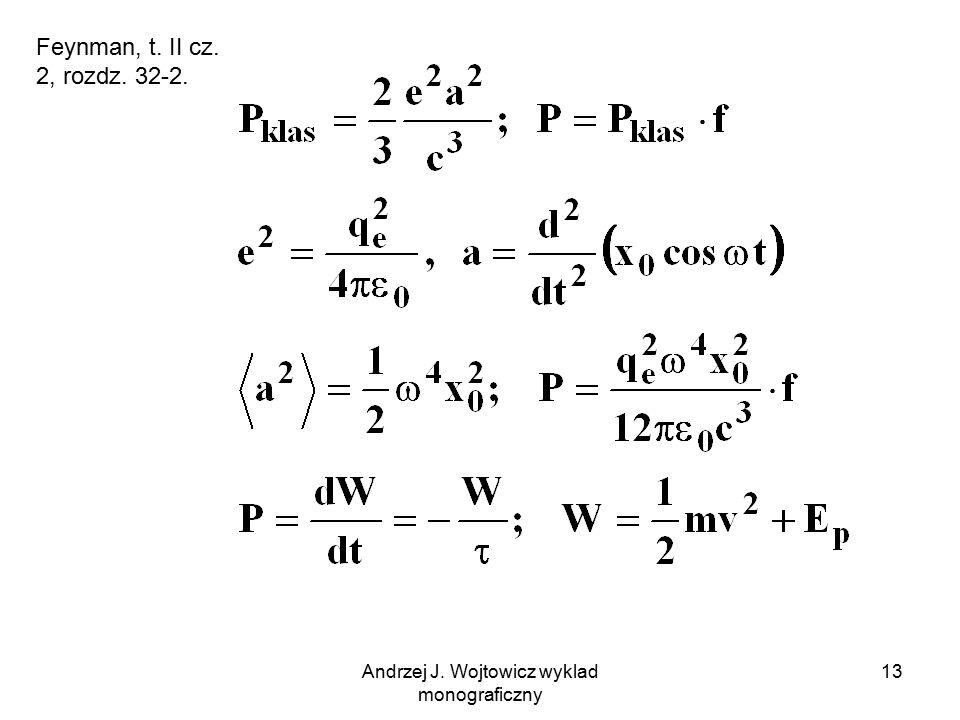 Andrzej J. Wojtowicz wyklad monograficzny 13 Feynman, t. II cz. 2, rozdz. 32-2.