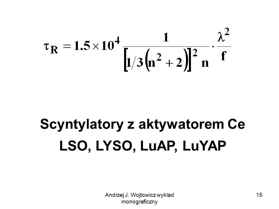 Andrzej J. Wojtowicz wyklad monograficzny 15 Scyntylatory z aktywatorem Ce LSO, LYSO, LuAP, LuYAP