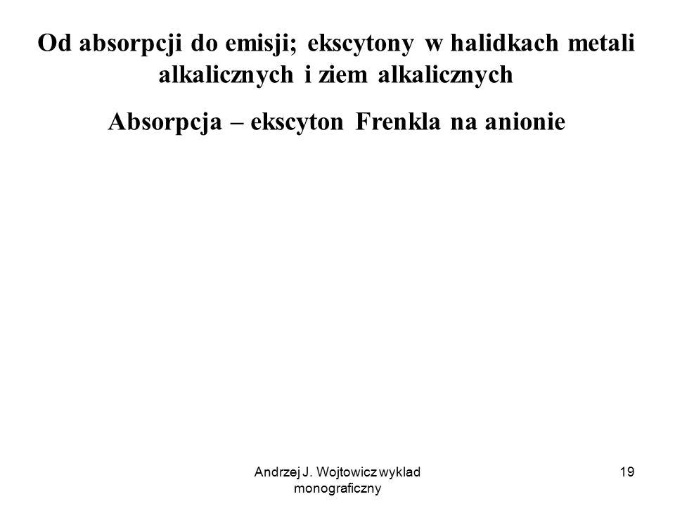 Andrzej J. Wojtowicz wyklad monograficzny 19 Od absorpcji do emisji; ekscytony w halidkach metali alkalicznych i ziem alkalicznych Absorpcja – ekscyto