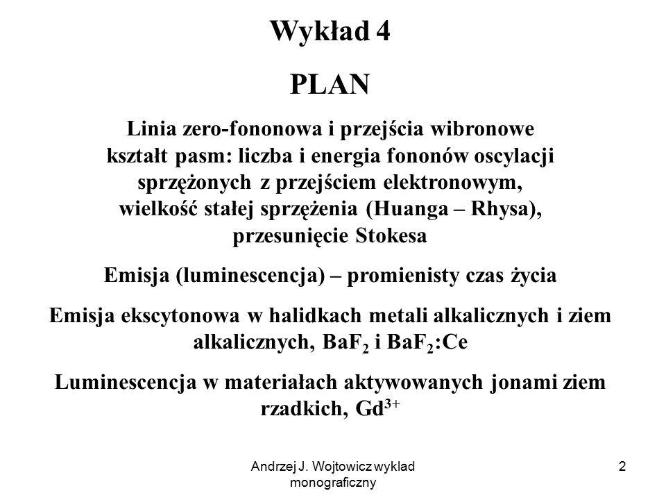 Andrzej J. Wojtowicz wyklad monograficzny 2 Wykład 4 PLAN Linia zero-fononowa i przejścia wibronowe kształt pasm: liczba i energia fononów oscylacji s