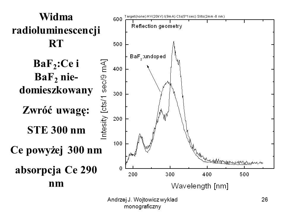 Andrzej J. Wojtowicz wyklad monograficzny 26 Widma radioluminescencji RT BaF 2 :Ce i BaF 2 nie- domieszkowany Zwróć uwagę: STE 300 nm Ce powyżej 300 n