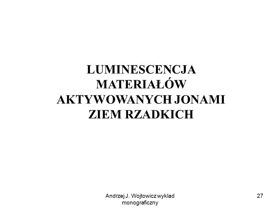Andrzej J. Wojtowicz wyklad monograficzny 27 LUMINESCENCJA MATERIAŁÓW AKTYWOWANYCH JONAMI ZIEM RZADKICH