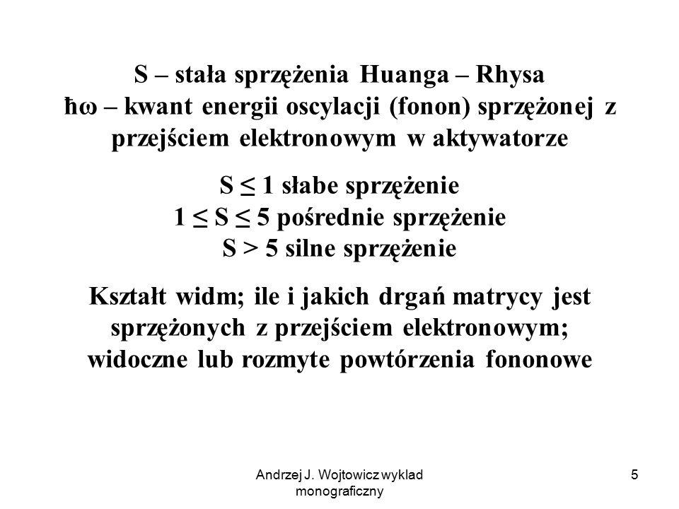 Andrzej J. Wojtowicz wyklad monograficzny 5 S – stała sprzężenia Huanga – Rhysa ħω – kwant energii oscylacji (fonon) sprzężonej z przejściem elektrono