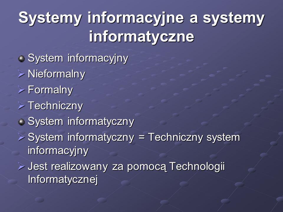 Systemy informacyjne a systemy informatyczne System informacyjny  Nieformalny  Formalny  Techniczny System informatyczny  System informatyczny = Techniczny system informacyjny  Jest realizowany za pomocą Technologii Informatycznej
