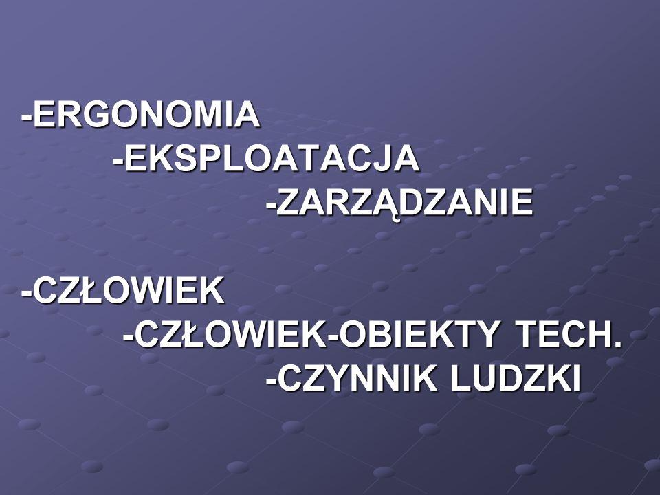 -ERGONOMIA -EKSPLOATACJA -ZARZĄDZANIE -CZŁOWIEK -CZŁOWIEK-OBIEKTY TECH. -CZYNNIK LUDZKI