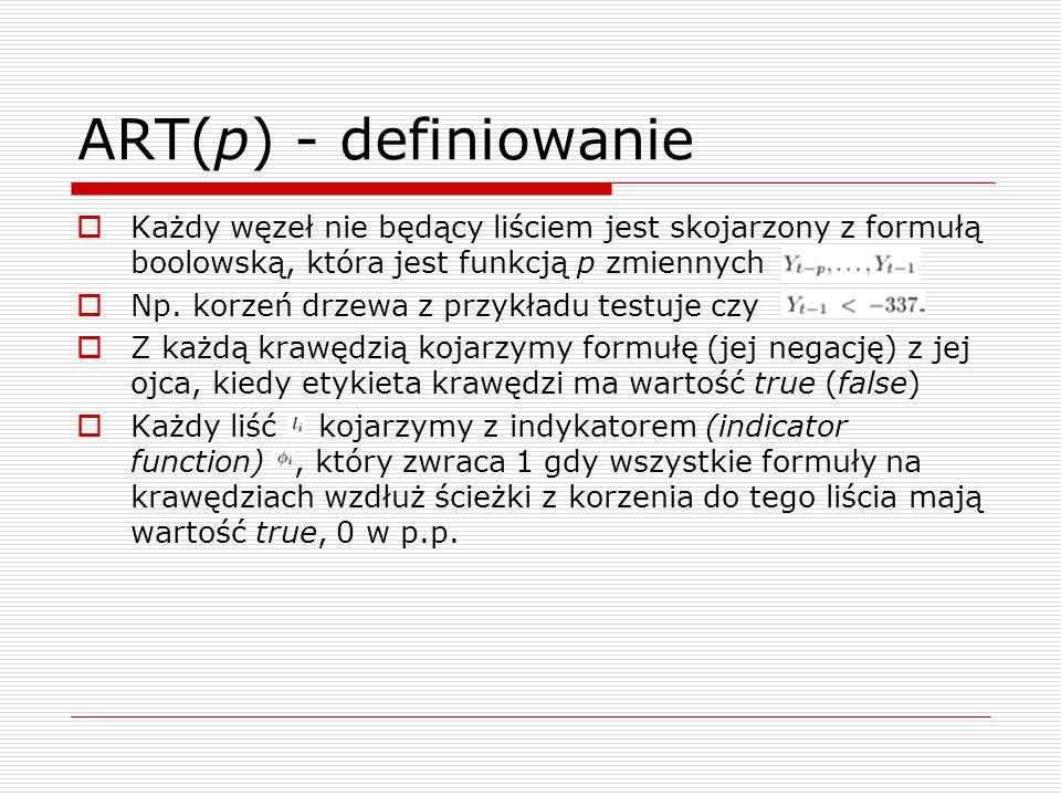 ART(p) - definiowanie  Każdy węzeł nie będący liściem jest skojarzony z formułą boolowską, która jest funkcją p zmiennych  Np.