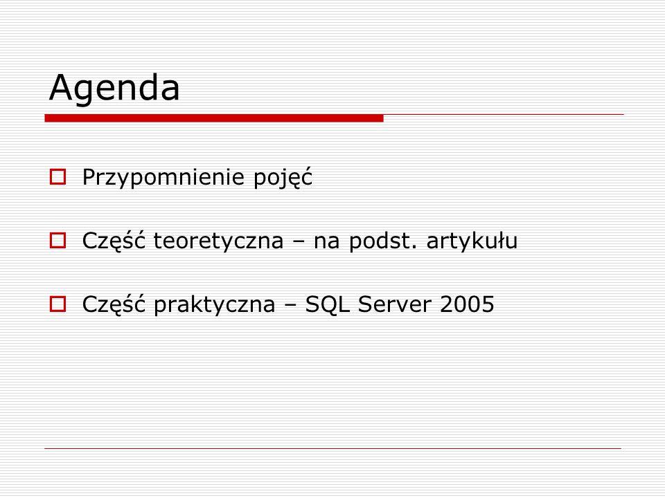 Agenda  Przypomnienie pojęć  Część teoretyczna – na podst. artykułu  Część praktyczna – SQL Server 2005