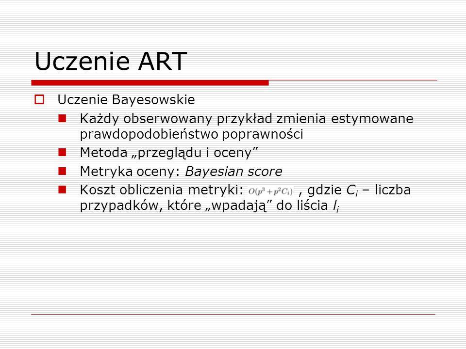 """Uczenie ART  Uczenie Bayesowskie Każdy obserwowany przykład zmienia estymowane prawdopodobieństwo poprawności Metoda """"przeglądu i oceny"""" Metryka ocen"""