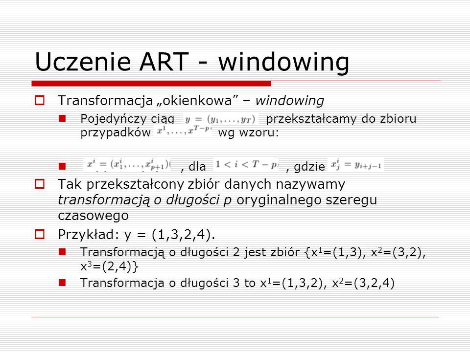 """Uczenie ART - windowing  Transformacja """"okienkowa – windowing Pojedyńczy ciąg przekształcamy do zbioru przypadków wg wzoru:, dla, gdzie  Tak przekształcony zbiór danych nazywamy transformacją o długości p oryginalnego szeregu czasowego  Przykład: y = (1,3,2,4)."""