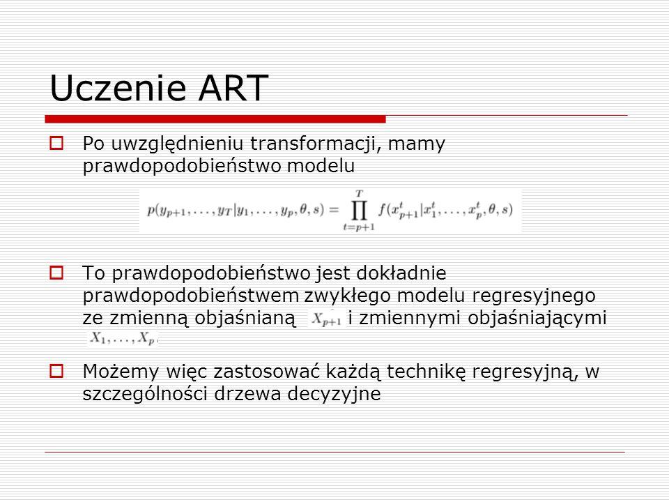 Uczenie ART  Po uwzględnieniu transformacji, mamy prawdopodobieństwo modelu  To prawdopodobieństwo jest dokładnie prawdopodobieństwem zwykłego model