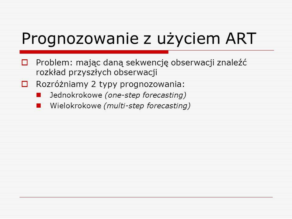 Prognozowanie z użyciem ART  Problem: mając daną sekwencję obserwacji znaleźć rozkład przyszłych obserwacji  Rozróżniamy 2 typy prognozowania: Jednokrokowe (one-step forecasting) Wielokrokowe (multi-step forecasting)