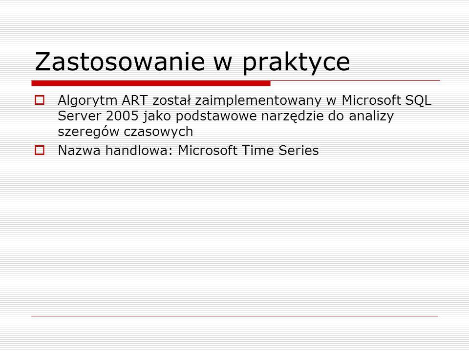 Zastosowanie w praktyce  Algorytm ART został zaimplementowany w Microsoft SQL Server 2005 jako podstawowe narzędzie do analizy szeregów czasowych  Nazwa handlowa: Microsoft Time Series