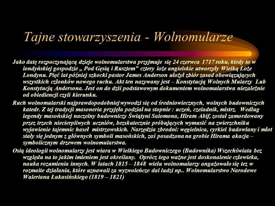 Tajne stowarzyszenia - Wolnomularze Jako datę rozpoczynającą dzieje wolnomularstwa przyjmuje się 24 czerwca 1717 roku, kiedy to w londyńskiej gospodzi