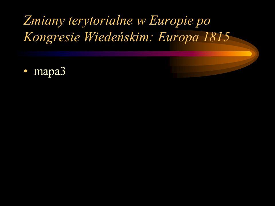 Nowy porządek w Europie Na Kongresie Wiedeńskim ustalono kilka zasad, które w zamyśle ich twórców miały kształtować nowy porządek na kontynencie europejskim: 1)Zasada legitymizmu – głosiła ona, że poszczególne państwa mogą istnieć tylko w granicach sprzed wybuchu rewolucji we Francji, bądź też w granicach sprzed epoki napoleońskiej ( przypadek Rzeczpospolitej!!!) 2)Zasada restauracji – głosiła ona, że w poszczególnych państwach powinny panować te dynastie,które rządziły przed epoką napoleońską.
