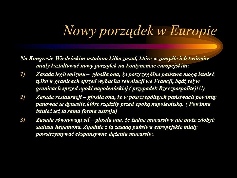Nowy porządek w Europie Na Kongresie Wiedeńskim ustalono kilka zasad, które w zamyśle ich twórców miały kształtować nowy porządek na kontynencie europ