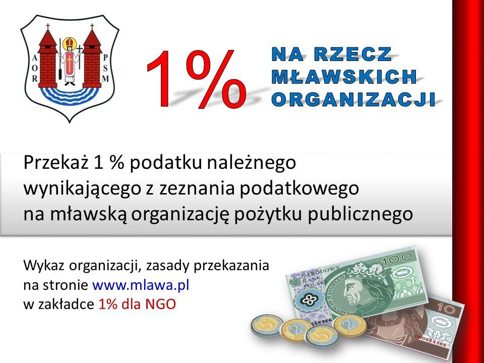 Przekaż 1 % podatku należnego wynikającego z zeznania podatkowego na mławską organizację pożytku publicznego Wykaz organizacji, zasady przekazania na stronie www.mlawa.pl w zakładce 1% dla NGO