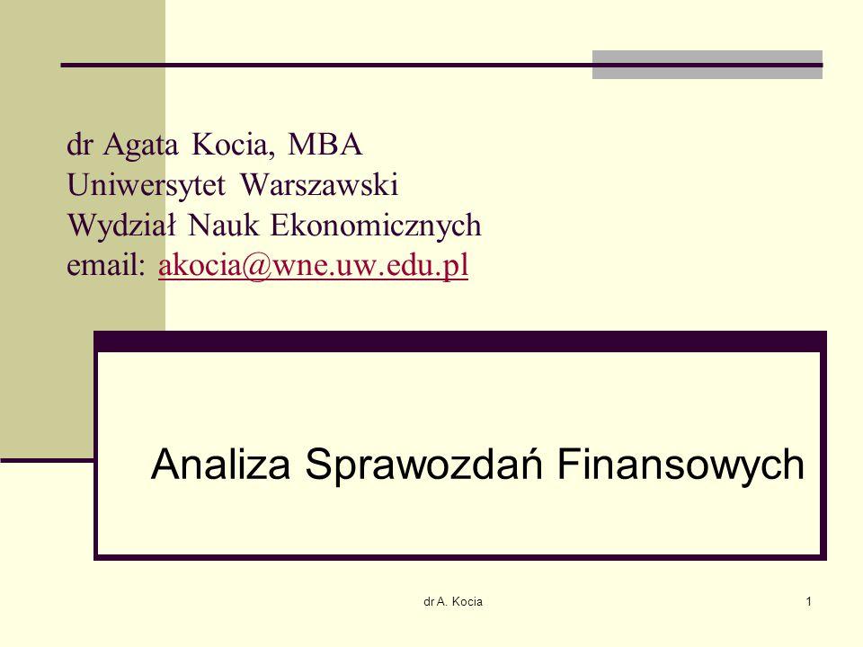 dr A. Kocia1 dr Agata Kocia, MBA Uniwersytet Warszawski Wydział Nauk Ekonomicznych email: akocia@wne.uw.edu.plakocia@wne.uw.edu.pl Analiza Sprawozdań