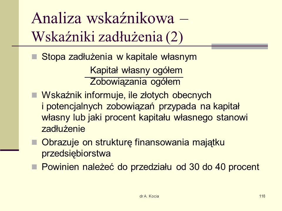 dr A. Kocia118 Analiza wskaźnikowa – Wskaźniki zadłużenia (2) Stopa zadłużenia w kapitale własnym Kapitał własny ogółem Zobowiązania ogółem Wskaźnik i