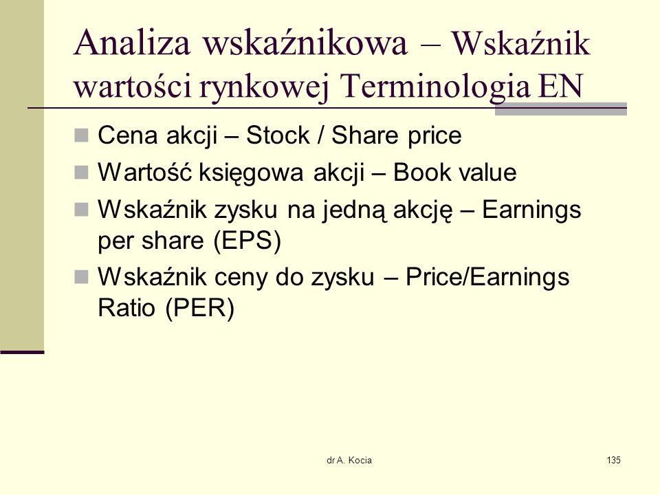 dr A. Kocia135 Analiza wskaźnikowa – Wskaźnik wartości rynkowej Terminologia EN Cena akcji – Stock / Share price Wartość księgowa akcji – Book value W