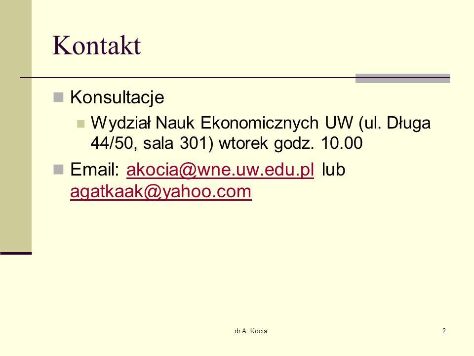 dr A. Kocia2 Kontakt Konsultacje Wydział Nauk Ekonomicznych UW (ul. Długa 44/50, sala 301) wtorek godz. 10.00 Email: akocia@wne.uw.edu.pl lub agatkaak